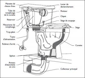 dessin schéma canalisations toilette