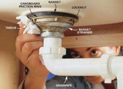 système evacuation eaux tuyauterie plomberie-lavabo