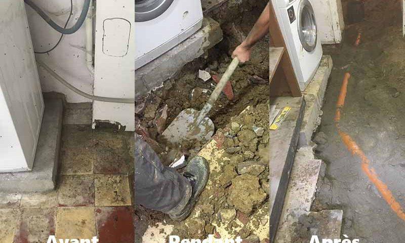 plombier qui change une canalisation avant pendant après