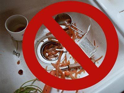 A ne pas jeter des déchets dans l'évier